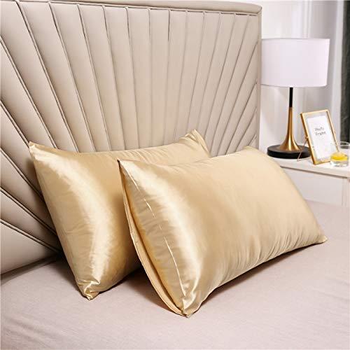 Juego de 2 fundas de almohada de seda satinada suave y pura, funda de almohada para cabello y piel con cierre de sobre (beige, estándar (50 x 75 cm)