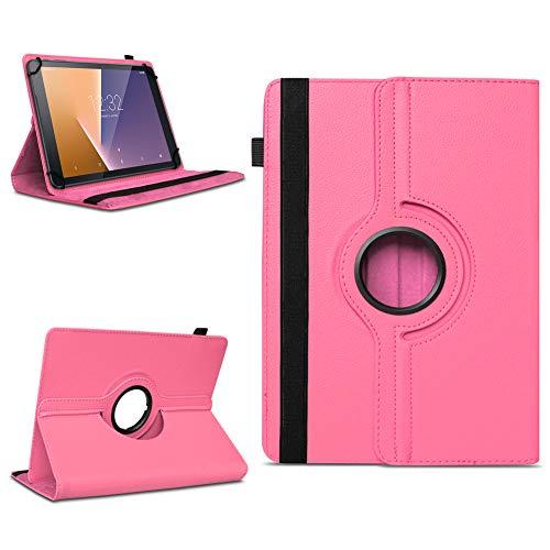 Robuste Tablet Schutzhülle für Vodafone Tab Prime 6 / 7 aus Kunstleder Hülle Tasche Standfunktion 360° Drehbar Cover Hülle Universal , Farben:Pink