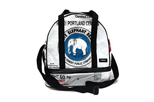Weekender 38 x 24 x 40 cm Recycling Tasche Dufflebag Duffle Bag Sporttasche Saunatasche mit Nassfach Naßfach Reisetasche aus Gewebeplane Thailand Zementsack Upcycling (White Elephant)