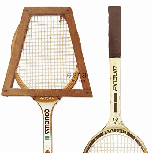 papel pintado XXL raquetas de tenis vintage blanco, marrón y beige - 158801 - de ESTAhome.nl