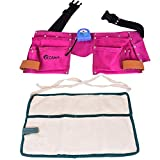 Kosma Tablier à 11 poches en cuir Rose 17,8 x 17,8 cm avec 4 poches en coton et ruban à mesurer 3 m