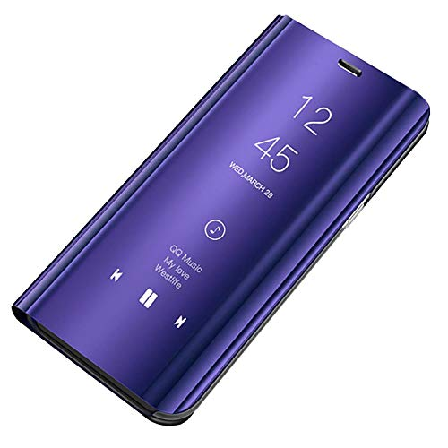 Custodia Galaxy S8 Plus Cover Specchio Case Clear View Standing Mirror Flip Custodia Portafoglio Galaxy S8 Folio Ultra Flip Stile Pelle Libro Fondina per Samsung Galaxy S8 Plus (S8, Viola)