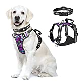【Large Dog Harness with Lockable Collar】 Adjustable Neck Girth: 18-27 inch, Chest Girth: 19-36 inch. Recommended Breeds: Medium to Large size dogs like Great Pyrenees, Golden Retriever, Labrador, German Shepherd, American Bully Pitbull, Huskie, Alask...