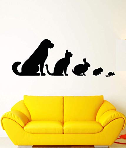 JXND Vinyl Wandtattoo Tierklinik Tier Haustier Hund Katze Kaninchen Hamster Aufkleber Tierhaus Zoo Dekoration Wandaufkleber 174x63cm