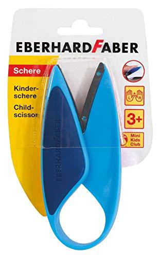 Eberhard Faber 579951 – Mini Kids Kinderschere in blau, für Linkshänder und Rechtshänder geeignet, optimal zum Schneiden und Basteln