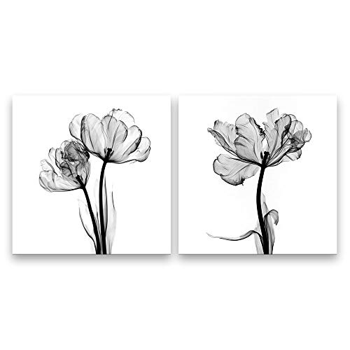 SIGNFORD 2 Panel Canvas Wall Art Black and White Flower Canvas Prints Painting Wall