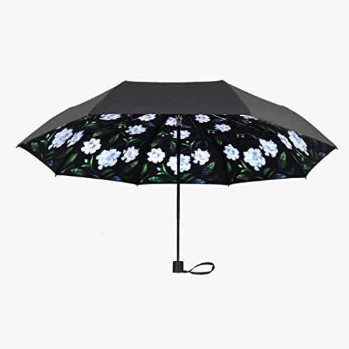 SBSNH Paraguas Plegable De Viaje For Mujer con Sombrilla De Sol Impresa For Sol Impresa Incorporada, Revestimiento De Paraguas: Caucho Negro
