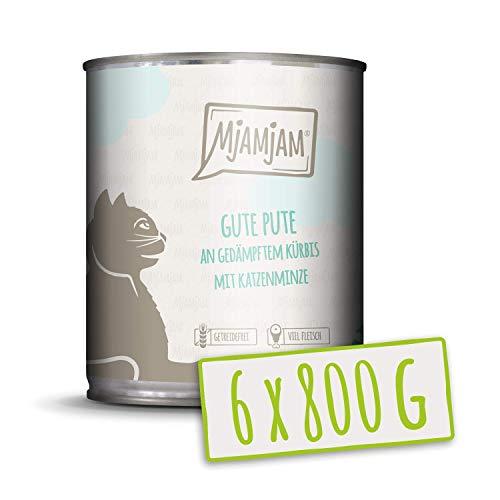 MjAMjAM - Premium Nassfutter für Katzen - Gute Pute an gedämpftem Kürbis, 6er Pack (6 x 800 g), getreidefrei mit extra viel Fleisch