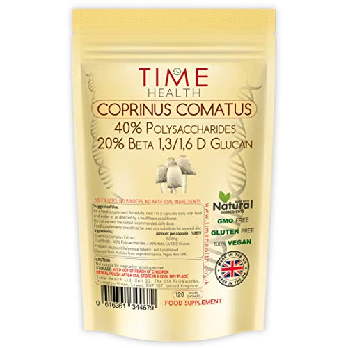 Coprinus Comatus Extract - High Strength 40% Polysaccharides / 20% Beta Glucans - Fruit Body - UK Made - Zero Additives - Vegan - Pullulan (120 Capsule Pouch)