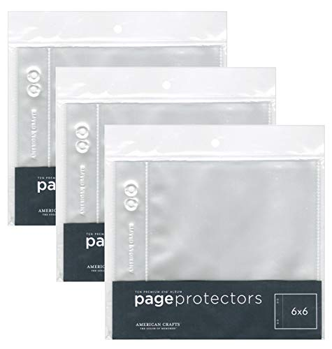 3-PACK - American Crafts 6-Inch by 6-Inch Page Protectors - 10pgs Per Pack