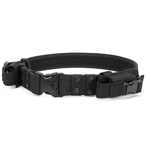 Heavy Duty Tactical Belt Adjustable Military Army Police Uniform Airsoft Utility Waist Belts with Dual Mag Pouches Black