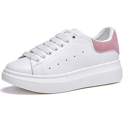 Damen Sneakers, Modisch, Leder, Plattform, Sneakers, Schnürschuhe, Pink - Rosa - Größe: 38 EU