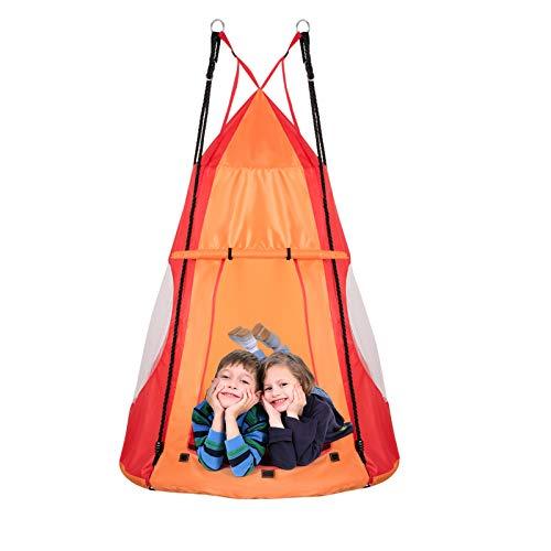 DREAMADE Nestschaukel mit Zelt, Hängezelt Höhenverstellbar Gartenschaukel, Schaukelnest Hängenest mit Tür...