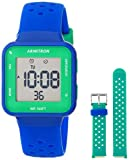 Armitron Sport Unisex Digital Chronograph Navy Blue and Teal Interchangeable Silicone Strap Watch, 45/7123NVTST