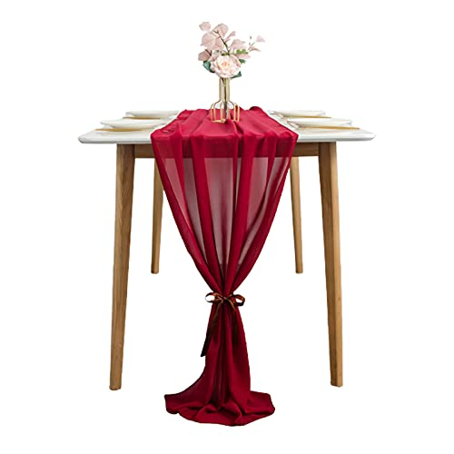 DUDNJC Camino de mesa de gasa transparente de 68,5 x 304,8 cm, diseño romántico de tul francés de gasa para bodas, fiestas de cumpleaños, tartas de boda, recepción, decoración de mesa