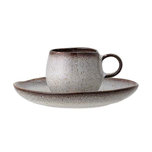 Bloomingville Espressotasse mit Untertasse Sandrine, grau, Keramik