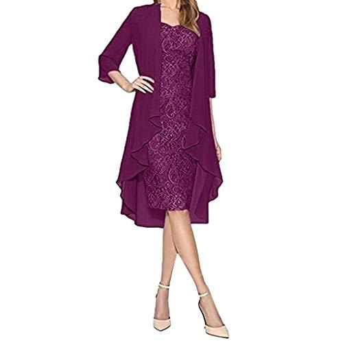 VEMOW Vestido Mujer Moda Dos Piezas Encantador Color sólido Madre deColor sólido la Novia Cordón Vestidos OtoñO Summer(Púrpura,2XL)