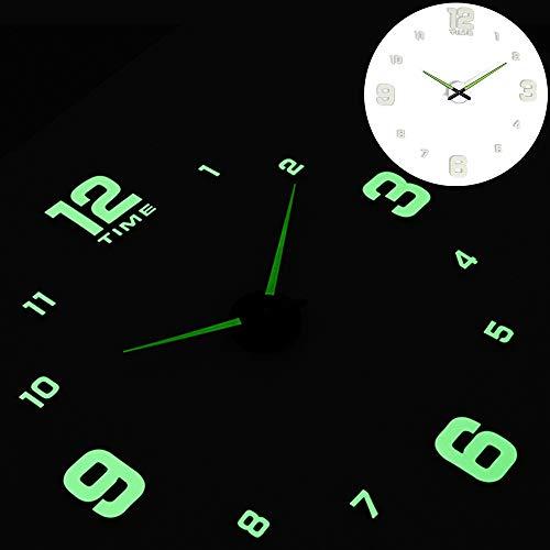 Reloj de Pared de diseño Moderno Reloj de Cuarzo de Arte con Pilas,Reloj analógico Mudo de Sala de Estar Reloj de Pared Exterior e Interior,Size:27Inch