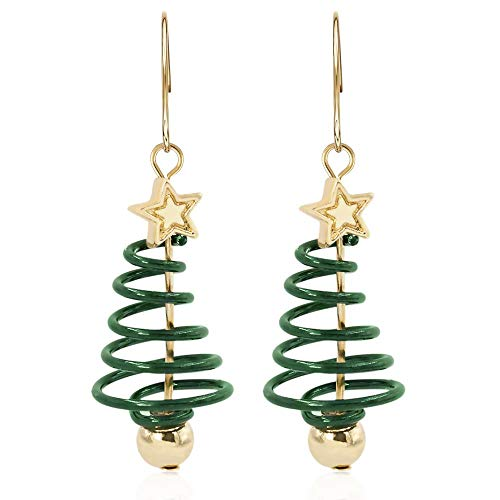 Women's Gold Plated Spiral Christmas Tree Drop Earrings Festive Xmas Gift Present