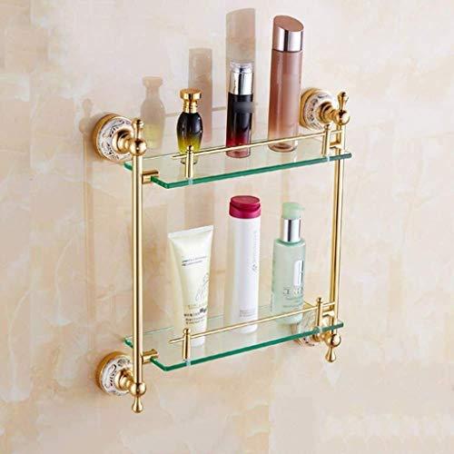 Badkamer glazen plank, antiek champagne goud make-uptafel badkamer plank dubbelwand glazen frame, 16,1x5,5x16,5 inch