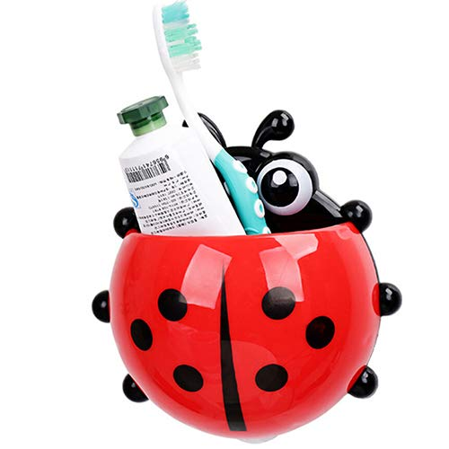 Aland Ladybug Toothbrush Holder Suction Ladybird Toothpaste Wall Sucker Bathroom Sets Powerful Suction Cup Toothbrush Toothpaste Rack Red
