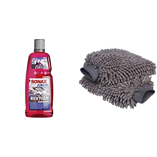 SONAX Xtreme RichFoam Shampoo (1 Liter) Schaum/Snow Foam Shampoo erzeugt Schaumteppich, ph-neutral, Berry-Duft | Art-Nr. 02483000 & AmazonBasics Deluxe Auto-Waschhandschuh, Mikrofaser, 2 Stück