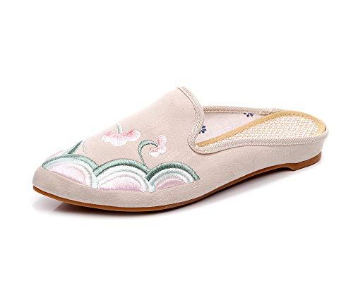 COQUI Sandalia Art Mujer,Zapatos de Tela Bordados de Estilo Chino con Punta Puntiaguda y tacón bajo de Todo fósforo Zapatos Individuales de Mujer-Beige_37