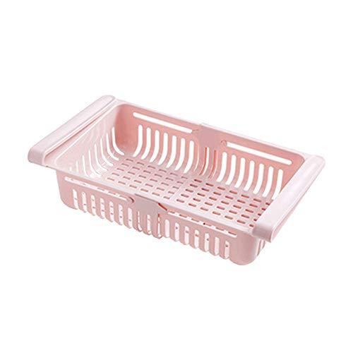 Refrigerador Contenedores retráctil de Almacenamiento Frigorífico nevera Organizador cajas del estante con ranura herramienta Frigorífico para Clasificación de Alimentos, bebidas, frutas (pink)