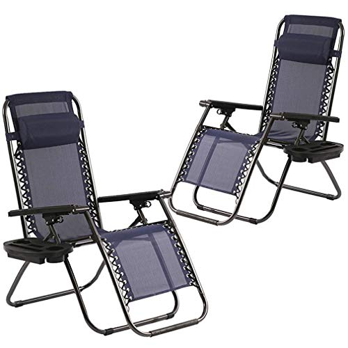Zero Gravity Chairs Set of 2 with Pillow and Cup Holder...