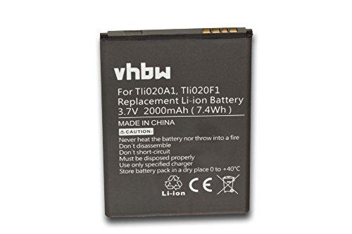 vhbw Li-Ion Akku 2000mAh (3.8V) passend für Handy Smartphone Handy Alcatel One Touch OT-4037V, OT-5017, A450TL