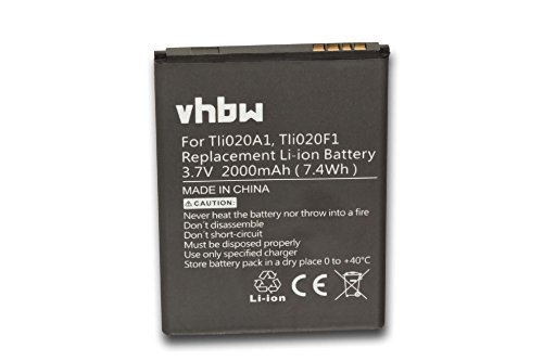 vhbw Li-Ion batería 2000mAh (3.8V) para teléfono móvil Smartphone Alcatel One Touch OT-7041D, OT-7041X y Tli020F1, TLi020G1, TLi019B2.