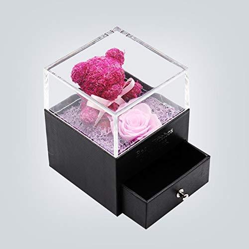 Real flor rosa oso caja de joyería regalo de San Valentín belleza y la bestia eterna rosa roja para las mujeres boda navidad bir