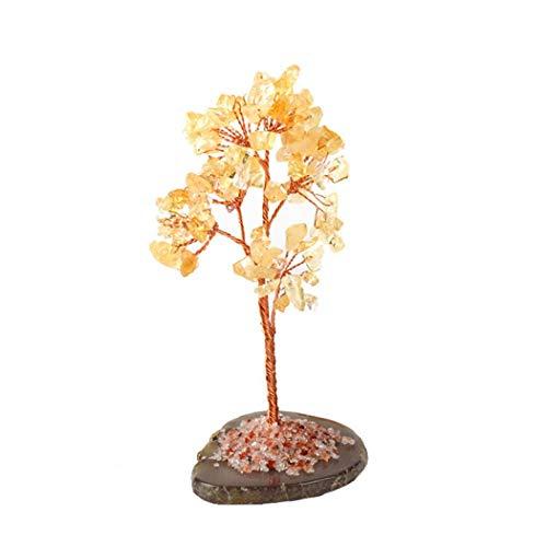YYW Árbol de cristal Feng Shui, árbol de dinero de cristal natural para decoración de cumpleaños, Año Nuevo, regalo de buena suerte, riqueza y prosperidad, árbol de piedras preciosas (citrino)