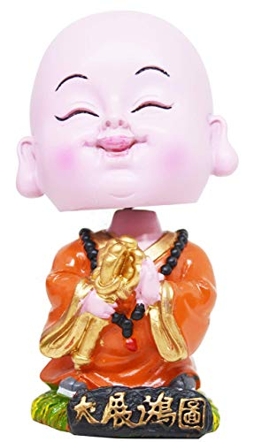 Indian Decor & Attire Polyresin Orange Daiken Little Bobblehead Monk Buddha with Nodding Head, Beautiful Car Dashboard Idol, Figurine, Showpiece, Sculpture for Health, Wealth & Prosperity (Orange)
