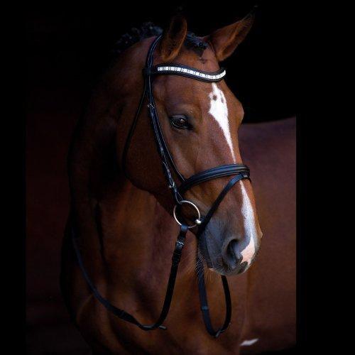 Kerbl 323555 Trensenzaum Shine-On, Pony, schwarz Strassapplikation