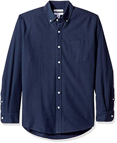 Amazon Essentials – Camisa Oxford lisa de manga larga de corte recto para hombre, Azul (Navy Nav), US XS (EU XS)