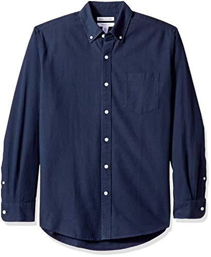 Amazon Essentials Regular-Fit Long-Sleeve Solid Pocket Oxford Camicia, Blu (Navy NAV), US (EU XS)