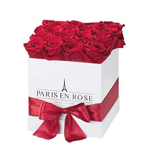 PARIS EN ROSE Château-Versailles Rosenbox, weiß-Bordeauxrot, Q   3 Jahre haltbar  