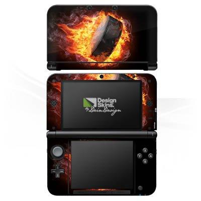 DeinDesign Skin kompatibel mit Nintendo 3 DS XL Aufkleber Sticker Folie Eishockey Flammen Slapshot