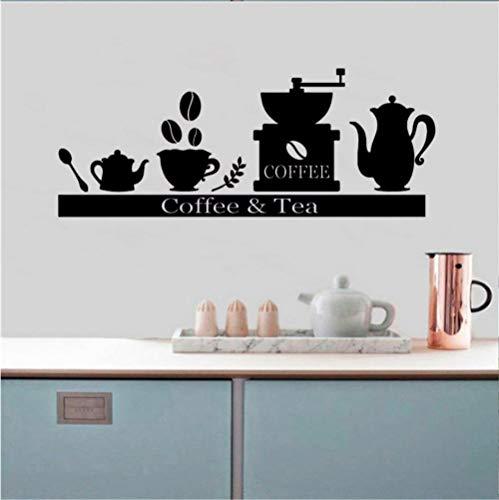 GVFTG Vinyl Muursticker Decals Koffiemachine Koffiemachine Thee Kop Houder Plank Keuken Woonkamer Decoratie Art Poster 57X25cm