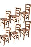 Tommychairs - Set 6 sillas Venice para Cocina y Comedor, Estructura en Madera de Haya Color Cerezo y Asiento en Madera