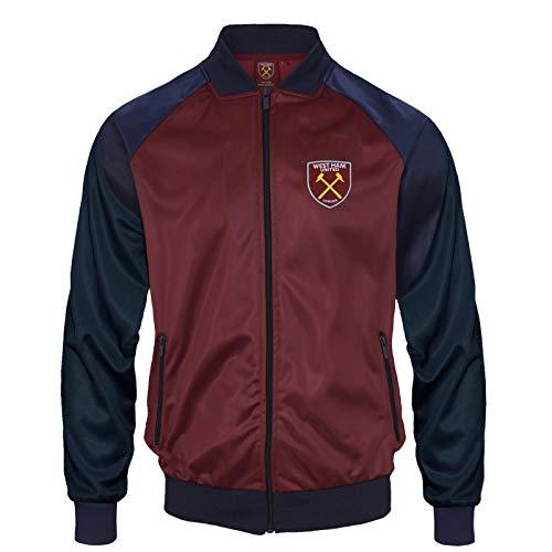 West Ham United FC - Chaqueta de Entrenamiento Oficial - Hombre - Estilo Retro - Burdeos - XL