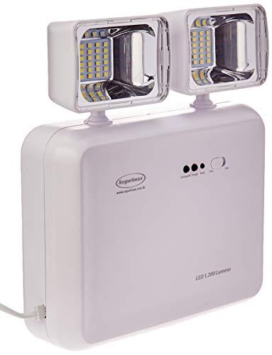 Iluminação de Emergência LED 1200 Lumens 2 Faróis - Predial, Segurimax, 24707, Branco, Médio