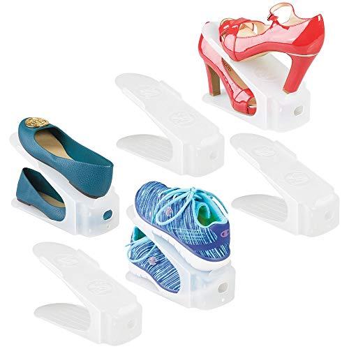 mDesign Set van 6 schoenenhouders – stapelbaar schoenenrek voor sneakers, pompen of ballerina's – antislip opbergmogelijkheid voor schoenen doorzichtig