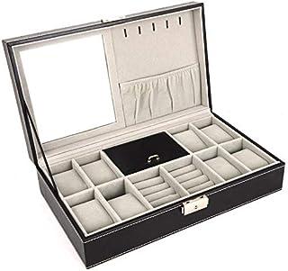 Watch Ring Jewelry Storage Box Organizer Multifunction Box Pu Leather Gift, Black
