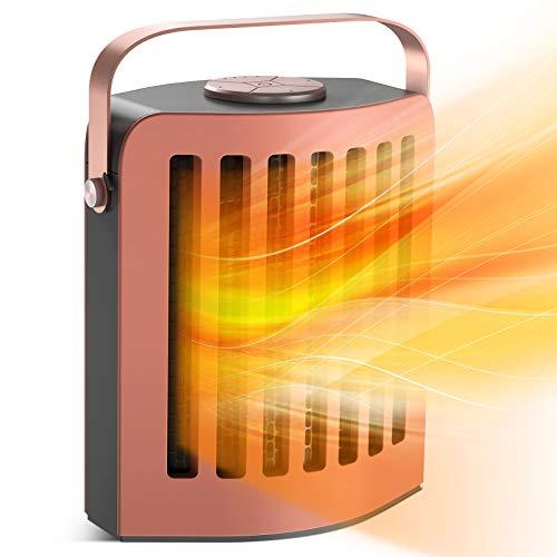 Esolom Heizlüfter, Mini Keramik Heizlüfter Energiesparend Elektrisch Heizlüfter mit Thermostat, überhitzungsschutz,Warm & Natürlich Wind für Büro,Geschenke für Männer und Frauen