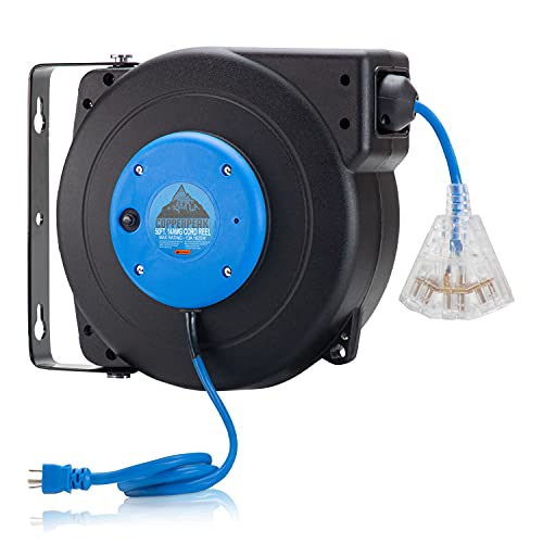 CopperPeak Retractable Extension Cord Reel - 14 AWG 50 Feet - Garage Wall, Work Bench & Ceiling Mount - Overhead Power Cord Reel with 180° Swivel - Grounded 3 Prong Outlet Adapter - Blue/Black