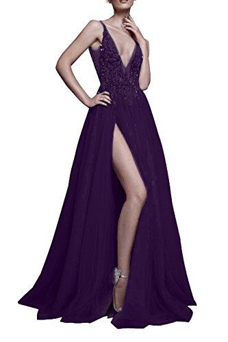 NanGer Dames V-hals tule glitter baljurken lang met sleuf avondjurken cocktail party jurken
