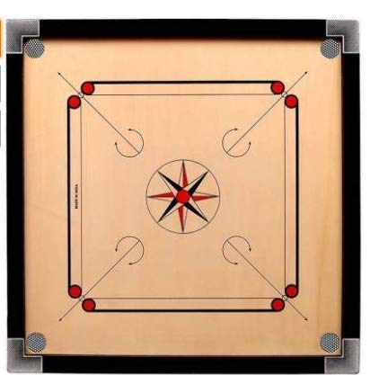 Man 32' Inch 4mm Matte Finish Round Pocket Carrom Board with Coins, Striker, Powder Complimentary Duster Fre