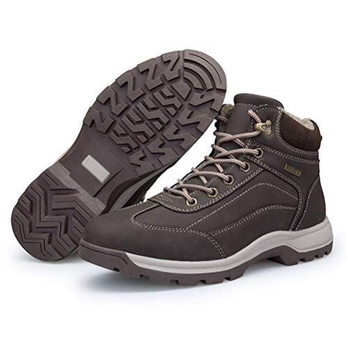 Los hombres de botas para la nieve antideslizantes resistentes al desgaste y Velvet zapatos que caminan de invierno al aire libre del tobillo Bootie Trekking Senderismo arranque en caliente,Marrón,45